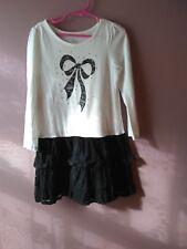 Girls Est. 1989 Place Size 5/6 Long Sleeve Cotton Lace Dress Black and White