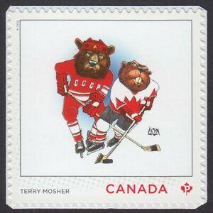 HOCKEY CARICATURE = CCCP vs CANADA BEAR vs BEAVER =CARTOONISTS = MNH Canada 2021