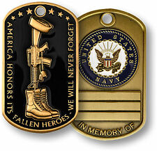 Fallen Heroes - In Memory Of - Engravable - Navy Dog Tag Challenge Coin NEW