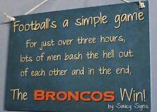 Simple Game Denver Broncos Sign Handmade Football Bar Jersey Tickets Cards