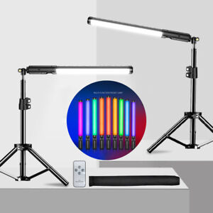 Handheld RGB LED Video Light Stick Wand Photography 3000-6000K W/ Remote Tripod
