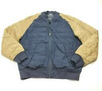 Nautica Men's Blue Tan Down Puffer Logo Zip Bomber Jacket Coat Medium