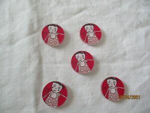 - 5 anciens boutons en plastique - TBE -