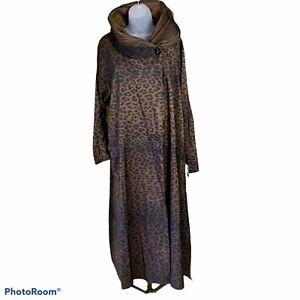 Mycra Pac Donatella Raincoat Leopard Print Reversible Rain Wind Hood S/M New
