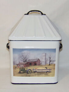 Metal Storage Bin Container with Lid HAYRIDE Farm Scene Lidded Storage Box New