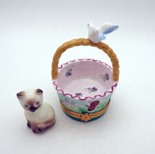 New French Limoges Trinket Box Cute Siamese Cat in Basket w Bird & Painted Mice