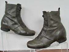 HAND MADE VIALIS WOMENS 6.5 37 GRANNY ANKLE BOOTS GRAY LEATHER ROPER SPAIN GREY