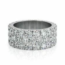 Round Cut Three Row Engagement Band Wedding Ring 14kt White Gold Over