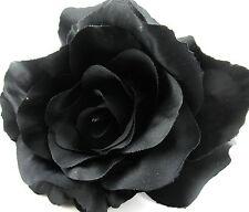 "Full 5""  Goth Black Rose Poly Silk  Flower Hair Clip w/Teeth Halloween"