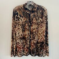 Travelers Collection By Chico's Zip Jacket Lightweight Embellished SZ 2 NWT
