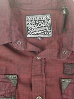 Affliction Black Premium Mens Snap Button Red Black Long Sleeve Shirt Size 2XL