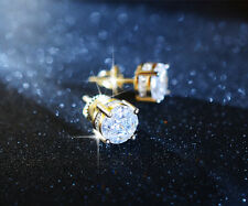 d-Hip-Hop-Earring-8Mm Mens-Hot-Ice-Out-Aaa-Lab- Diamond-14K-Goldfinish-Stu