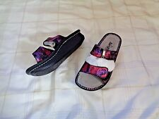 womens alegria kar-235 leather multi colored double strap sandals shoes size 37