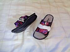 womens alegria kar-235 leather multi colored double strap sandals shoes size 37