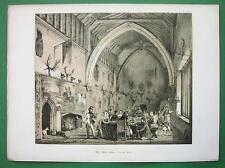 ENGLAND Kent Hall of Moat House Ichtham !! Antique Litho Print