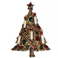 Vintage Christmas Tree Pin Brooch Enameled White Candles Rhinestones Gold Tone