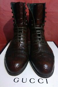 GUCCI CROCODILE ALLIGATOR BROWN LEATHER MEN  BOOTS SHOES SIZE 8.5  US