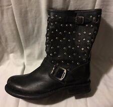 FRYE JENNA DISC SHORT Black Stone Antiqued Leather Boots Sz 6 NEW