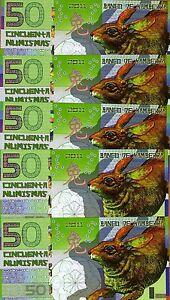 LOT Kamberra, POLYMER, 5 x 50 Numismas, China Lunar 2011 (2013), UNC > Rabbit
