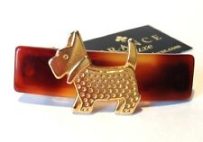 France Luxe Single Gold Scotty Dog Barrette Tortoise Brown Hand Made France 114