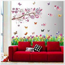 HUGE Bird Flowers Tree Butterflies Wall Stickers Mural Paper Children Kids Girls