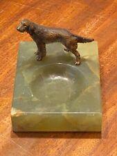 More details for antique cold painted austrian bronze irish setter dog 1930 orig onyx base