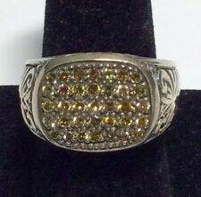 Men Silver Yellow Diamond Ring, Size 9 - MUST SELL
