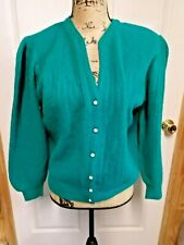 Victoria Jones Cardigan~Faux Pearl Buttons~Sweater~Size PM~Lambswool  Blend