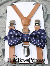 Set- Kids Boys Brown PU Leather Suspenders  navy blue wedding bow tie 6mon -5y