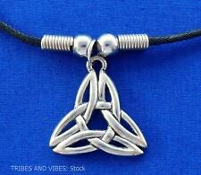 Celtic TRIQUETRA Pendant beads Necklace trinity knot pagan pewter Jewellery NEW