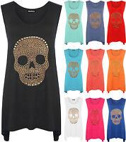 New Womens Plus Size Skull Long Vest Ladies Sleeveless Hanky Hem Top 14 - 28