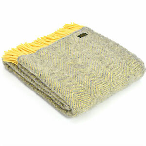 TWEEDMILL 100% Wool Sofa Throw HERRINGBONE SILVER GREY & LEMON YELLOW KNEE RUG