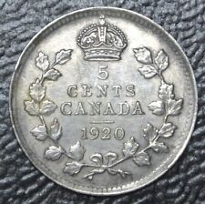 OLD CANADIAN COIN 1920 - 5 CENTS - .800 SILVER - George V - Nice
