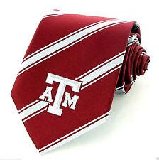 Texas A & M Aggies Striped Mens Necktie University College Logo Red Neck Tie