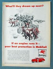 Original 1955 What'll They Dream Up Next Series Mobil Ad COW HERDER