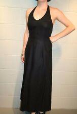 M~L USA 10 VTG 90s LAURA ASHLEY Black Linen Midi Maxi Long Halter Sun Dress