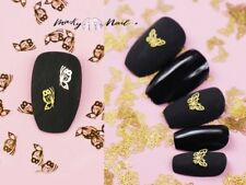 50 pcs Butterfly Nail supply flat Gold Metallic studs