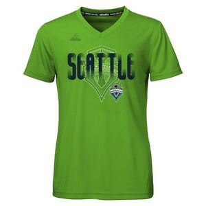"Seattle Sounders FC Adidas MLS Girls Green ""Logo Line Behind"" Climalite T-Shirt"