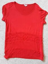 Marks and Spencer's ladies red floral sewn plain tshirt