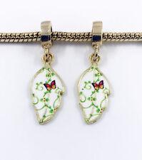 Fashion 2pcs Gold Leaves European Charm Spacer Beads Fit Necklace Bracelet  HOT