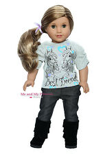 Western Horse Top + Jeans + Boots Outfit for 18 inch American Girl Doll Clothes