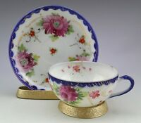 Antique Porcelain Unmarked Hand Painted Cup and Saucer