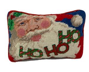 "Santa Small Needlepoint Pillow 9 x 6"" Christmas Ho Ho Ho Green Backing"