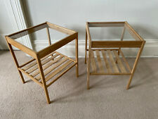 PAIR OF IKEA NESNA BAMBOO & GLASS MODERN SCANDI SIDE TABLES