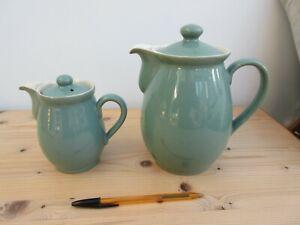 2 x Denby Regency Stoneware Green - Coffee Pots - 2 1/2pint & 3/4 pint