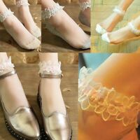 Fashion Women's Lace thin Transparent Ankle Hosiery Crystal Elastic Short Socks