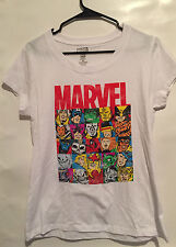 Marvel Character Collage T Shirt Tee 25 characters Junior Women White  XL nwot