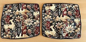 """Vintage Stitchwell Cushion Covers  x 2 Navy Floral Birds Deer Piped Approx. 18"""""""