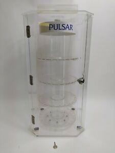 Pulsar Rotating Display Case W/ Locking Doors Key Acrylic 4 Round Shelves Vtg
