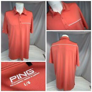Ping Sensor Cool Golf Polo Shirt L Men Orange Salmon Poly LNWOT YGI K0-408